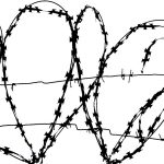 barbed with hearts and cross